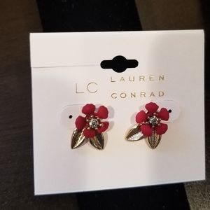 Lauren Conrad flower earrings and bonus necklace